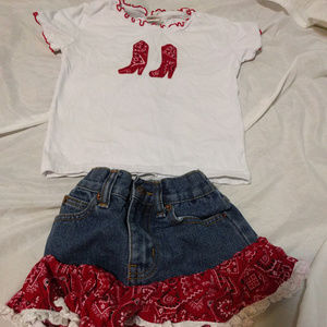 Top and Jean Skirt Country Western Outfit  costume